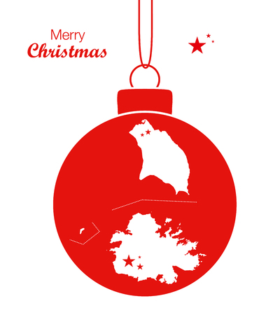 antigua: Merry Christmas Map Antigua and Barbuda Illustration