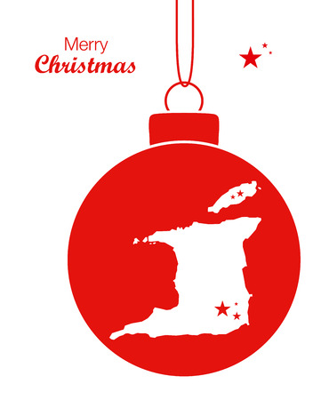 Merry Christmas Map Trinidad and Tobago Illustration