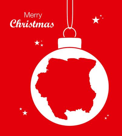 Merry Christmas Map Suriname