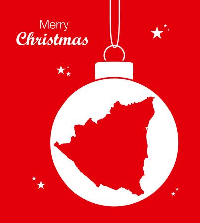 territory: Merry Christmas Map Nicaragua Illustration