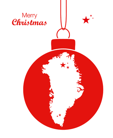 Merry Christmas illustration theme with map of Greenland
