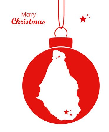 Merry Christmas illustration theme with map of Montserrat