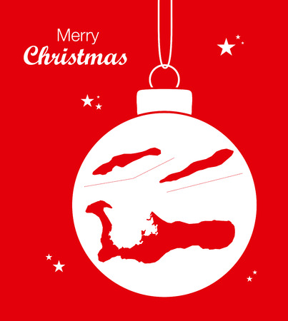 Merry Christmas illustration theme with map of Cayman Islands