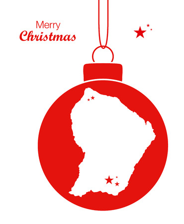 french guiana: Merry Christmas illustration theme with map of French Guiana