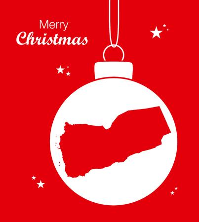 yemen: Merry Christmas illustration theme with map of Yemen Illustration