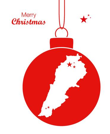 lebanon: Merry Christmas illustration theme with map of Lebanon Illustration