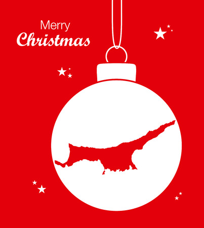 Merry Christmas illustration theme with map of Northern Cyprus