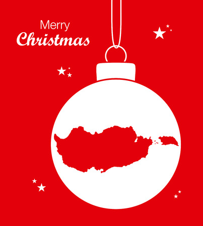 Merry Christmas illustration theme with map of Cyprus Illustration