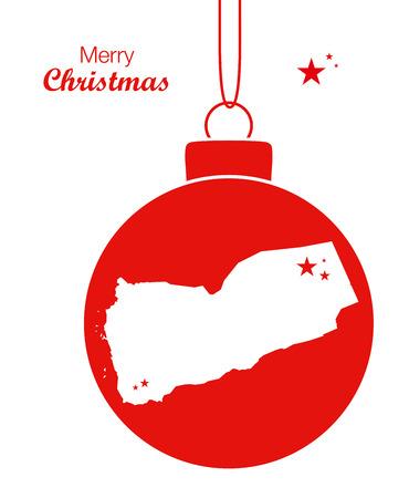 Merry Christmas illustration theme with map of Yemen Illustration
