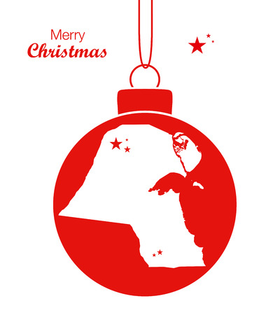Merry Christmas illustration theme with map of Kuwait