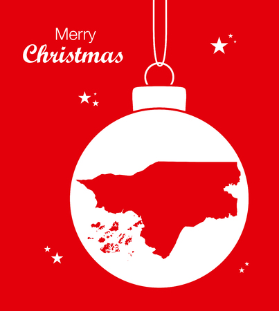 guinea bissau: Merry Christmas illustration theme with map of Guinea Bissau