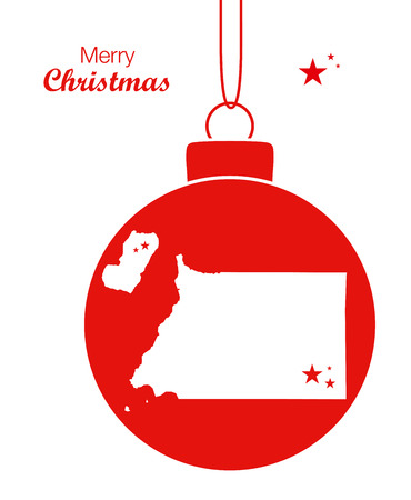 Merry Christmas illustration theme with map of Equatorial Guinea Illustration