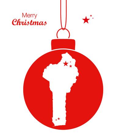 benin: Merry Christmas illustration theme with map of Benin Illustration
