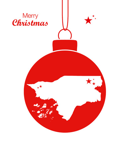 Merry Christmas illustration theme with map of Guinea Bissau