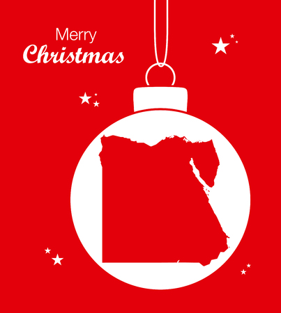 Merry Christmas illustration theme with map of Egypt