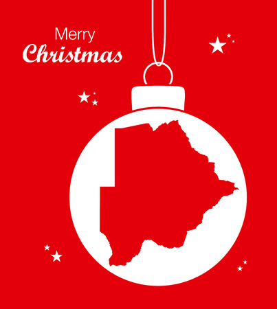 territory: Merry Christmas illustration theme with map of Botswana Illustration