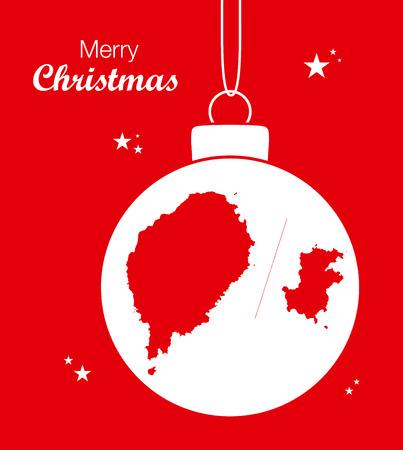 Merry Christmas illustration theme with map of Sao Tome and Principe Illustration