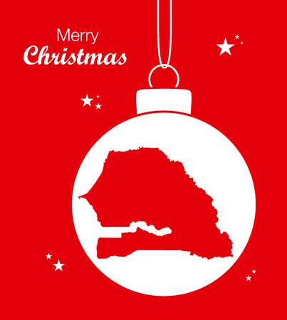 senegal: Merry Christmas illustration theme with map of Senegal