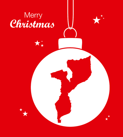 Merry Christmas illustration theme with map of Mozambique