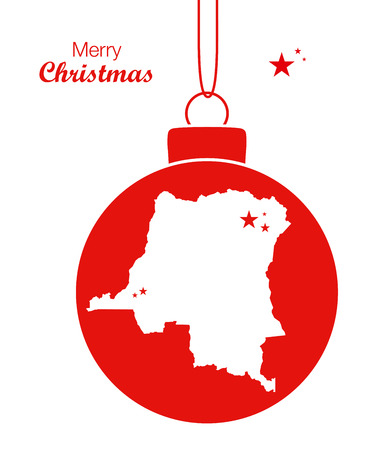Merry Christmas illustration theme with map of Congo the democratic republic