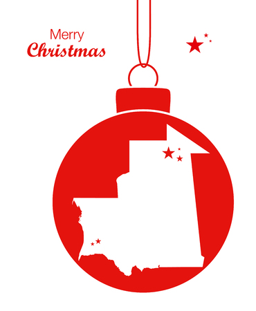 Merry Christmas illustration theme with map of Mauritania