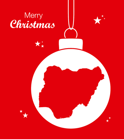 Merry Christmas illustration theme with map of Nigeria Illustration