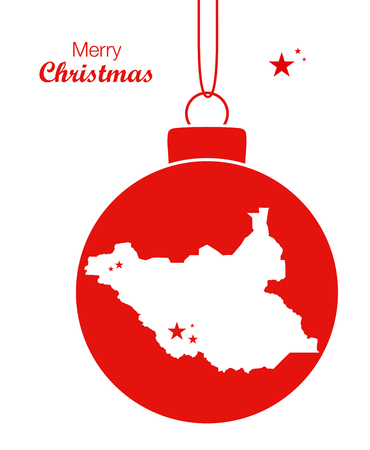 Merry Christmas illustration theme with map of South Sudan