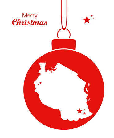 tanzania: Merry Christmas illustration theme with map of Tanzania