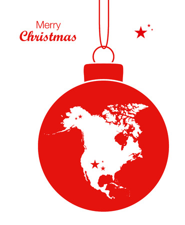 Merry Christmas illustration theme with map of North America