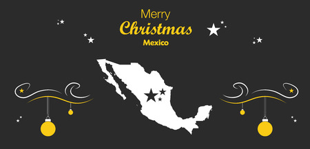 Merry Christmas illustration theme with map of Mexico