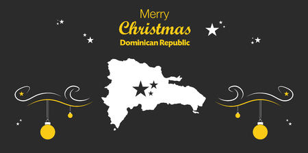 dominican: Merry Christmas illustration theme with map of Dominican Republic