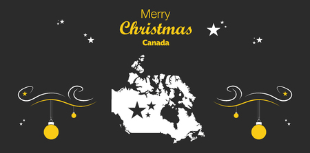 Merry Christmas illustration theme with map of Canada