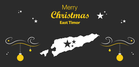timor: Merry Christmas illustration theme with map of East Timor