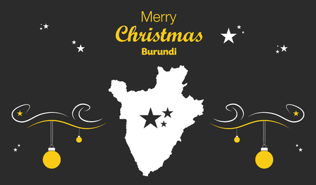burundi: Merry Christmas illustration theme with map of Burundi Illustration