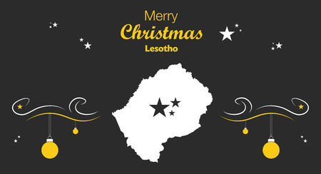 lesotho: Merry Christmas illustration theme with map of Lesotho Illustration
