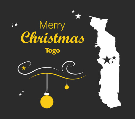 Merry Christmas illustration theme with map of Togo