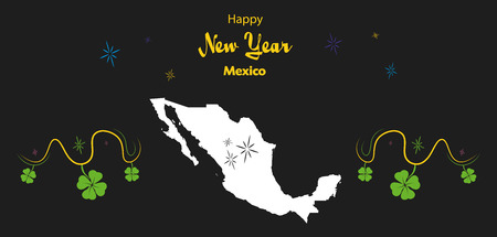 cloverleaf: Happy New Year illustration theme with map of Mexico Illustration