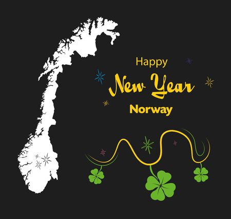 Happy New Year illustration theme with map of Norway Illustration