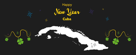happy new year illustration theme with map of cuba stock vector 66353241