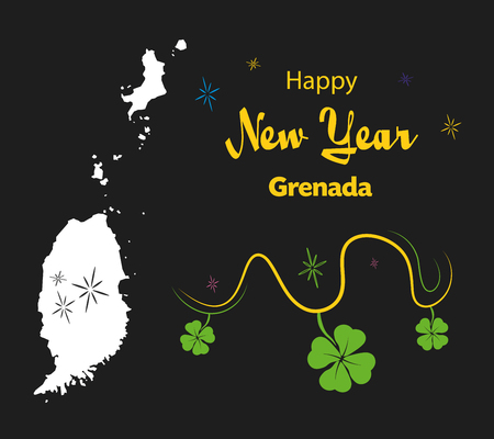 Happy New Year illustration theme with map of Grenada