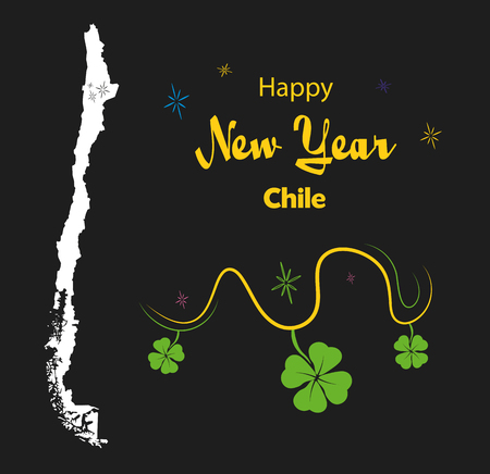 Happy New Year illustration theme with map of Chile