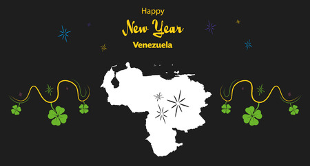 mapa de venezuela: Happy New Year illustration theme with map of Venezuela