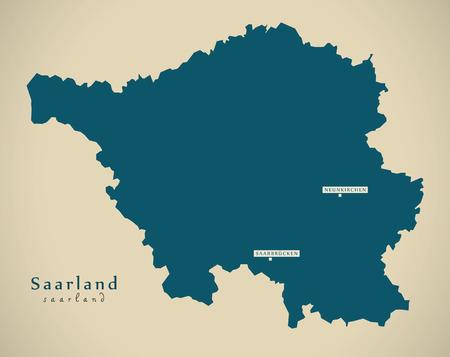 refreshed: Modern Map - Saarland DE Germany illustration Stock Photo
