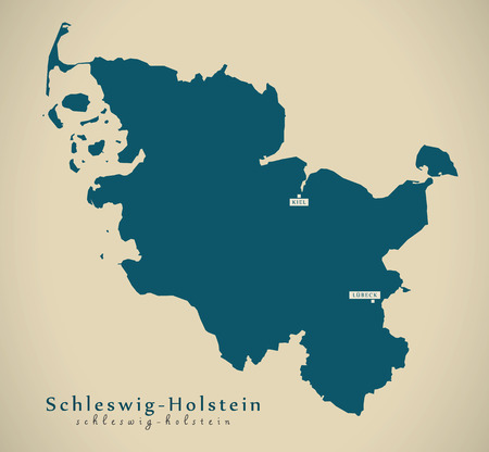 holstein: Modern Map - Schleswig Holstein DE Germany illustration Stock Photo