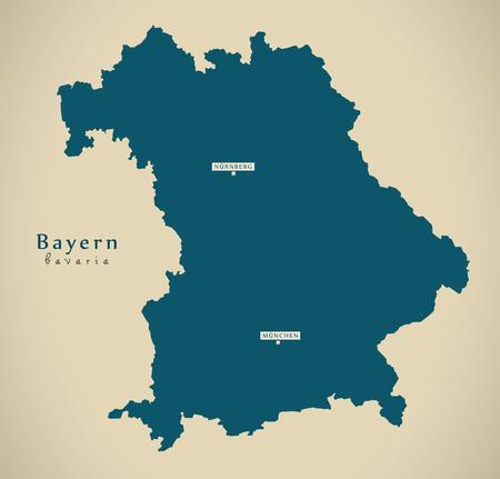 現代の地図 - バイエルン ・ デ ・ ドイツの図