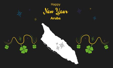 cloverleaf: Happy New Year illustration theme with map of Aruba