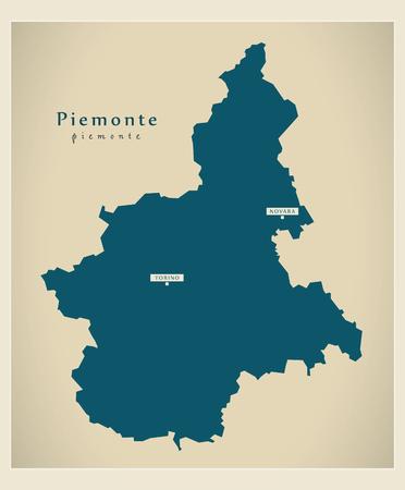 Modern Map - Piemonte IT Italy