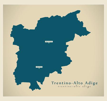 alto adige: Modern Map - Trentino - Alto Adige IT Italy