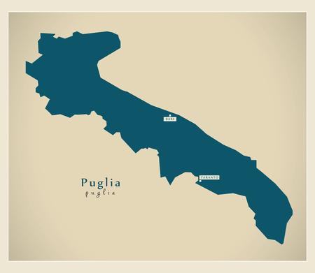 Modern Map - Puglia IT Italy Ilustrace