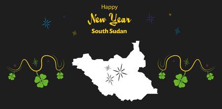 south sudan: Happy New Year illustration theme with map of South Sudan Illustration